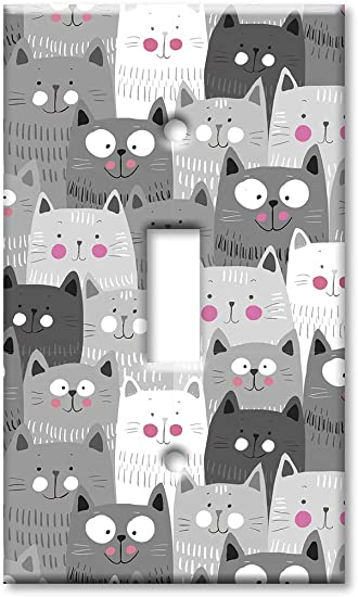 Amazon Com Art Plates 1 Gang Toggle Oversized Switch Plate Over Size Wall Plate Gray White Cat Toss Home Improvement