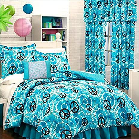 11pc Teen Girls TURQUOISE TYE DYE PEACE SIGN Comforter (86u0026quot; X 86u0026quot;)