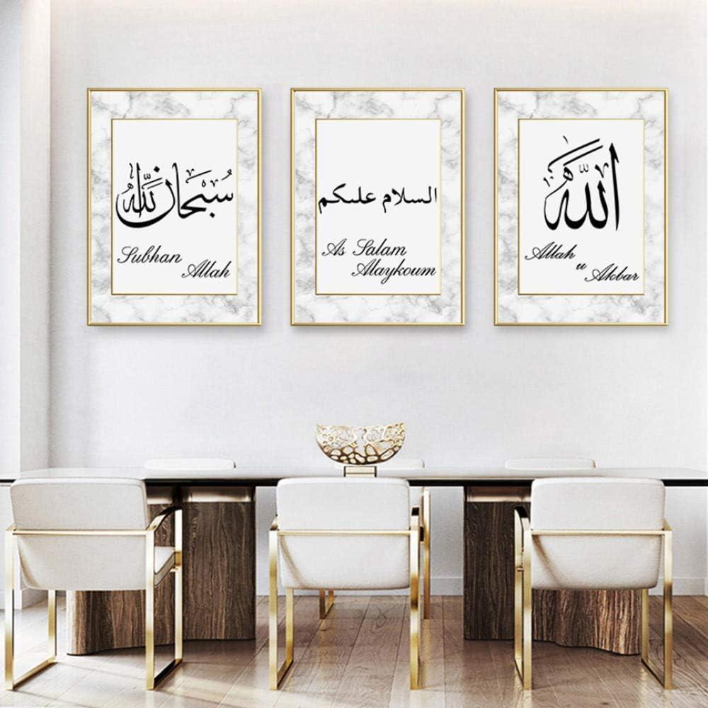 HGNFD Abstracto islámico musulmán Pared Arte Lienzo Pintura Cuadros para Sala de Estar decoración del hogar-50x70cmx3 Piezas sin Marco