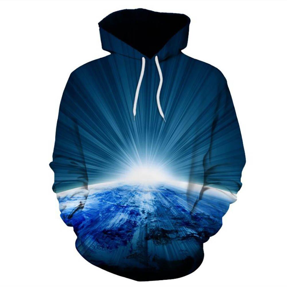Wobuoke Unisex Cool 51D Printed Lightning Animal Pullover Long Sleeve Hooded Sweatshirt Tops Blouse