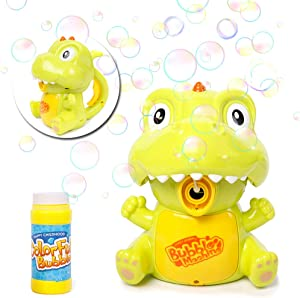 Danvren Dinosaur Bubble Machine for Kids Toddler Party Bubble Blower Maker Guns for Boys Girls Summer Backyard Toy (Solution Included)
