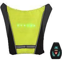 Goodjobb - Chaleco de bicicleta con luz LED, inalámbrico, con mando a distancia, color negro