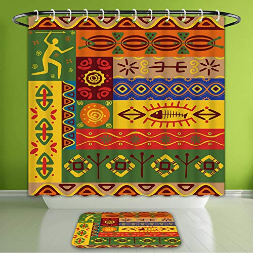 Waterproof Shower Curtain and Bath Rug Set African Decorations Abstract Ethnic West African Tribal Folk Art Forms with Uni Bath Curtain and Doormat Suit for Bathroom Extra Wide Size 78
