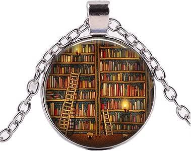 CLEARNICE Collar de Hombre Biblioteca Librería Collar