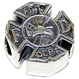 """Pro Jewelry 925 Sterling Silver """"Fireman's Badge"""" Charm Bead for Snake Chain Charm Bracelet 4051"""