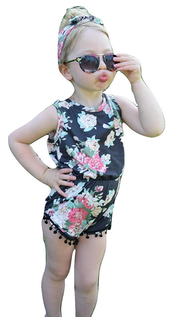 03c184b65 Amazon.com  Girls Romper   Headband Outfit - Boutique Kids Toddler ...