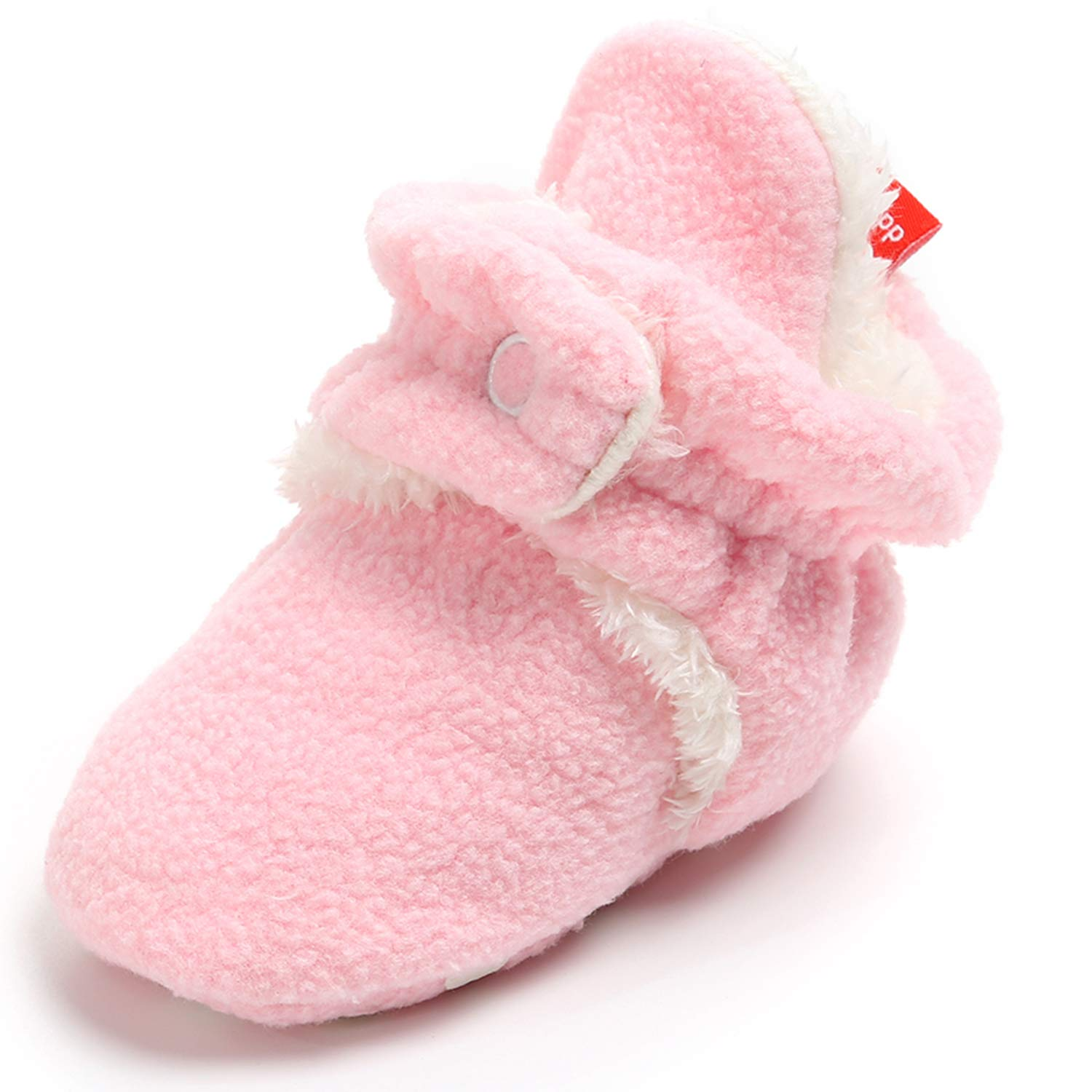 Garrein Newborn Baby Boys Girls Booties with Cozy Warm Fleece Non Skid Sole,Infant Toddler Snow Boots Sock Slipper Shoes