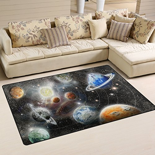 Naanle Outer Space Area Rug 3'x5′, Alien Planet Star System Polyester Area Rug Mat for Living Dining Dorm Room Bedroom Home Decorative Review