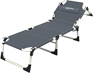 Teerwere Rollaway Folding Guest Bed Backrest Folding Sun Lounger Sunshade Metal Frame Breathable Lounger for Bedroom and Office (Color : Gray, Size : 1856530cm)