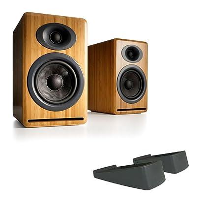 Audioengine P4 Premium Passive Bookshelf Speakers Bamboo With DS2 Desktop Speaker Stands Black