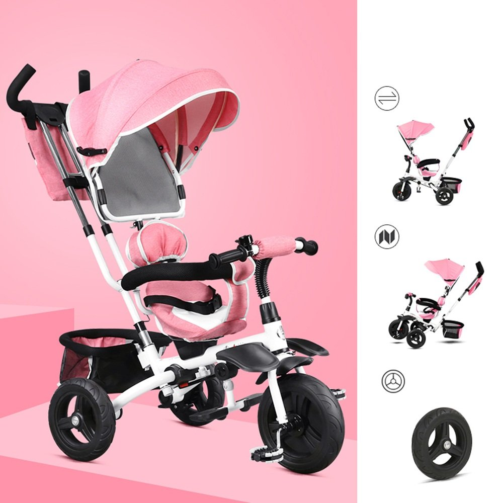 YANGFEI 子ども用自転車 赤ちゃん三輪車多目的車両折りたたみ式360度回転シート 212歳 B07DX1B4MVピンク ぴんく