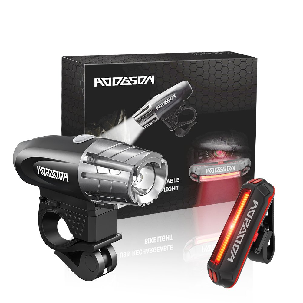 HODGSON Bike Lights 400 Lumens Bicycle Light Front and Back, USB Rechargeable Super Bright Headlight and Flashing Rear Light, IPX4 Waterproof, Easy to Install with All accessories by HODGSON (Image #7)
