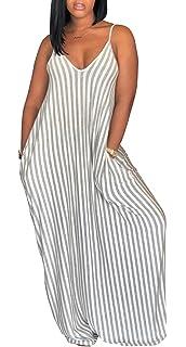 e65443d7031 shekiss Women s Casual Sexy Summer Stripe Bodycon Long Maxi Dresses Floor  Length Sleeveless Plus Size Sundresses
