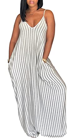 8d1ee612db1 shekiss Women s Casual Stripe Long Maxi Dresses with Pockets Spaghetti  Strap Sleeveless Loose Beach Sundress Grey