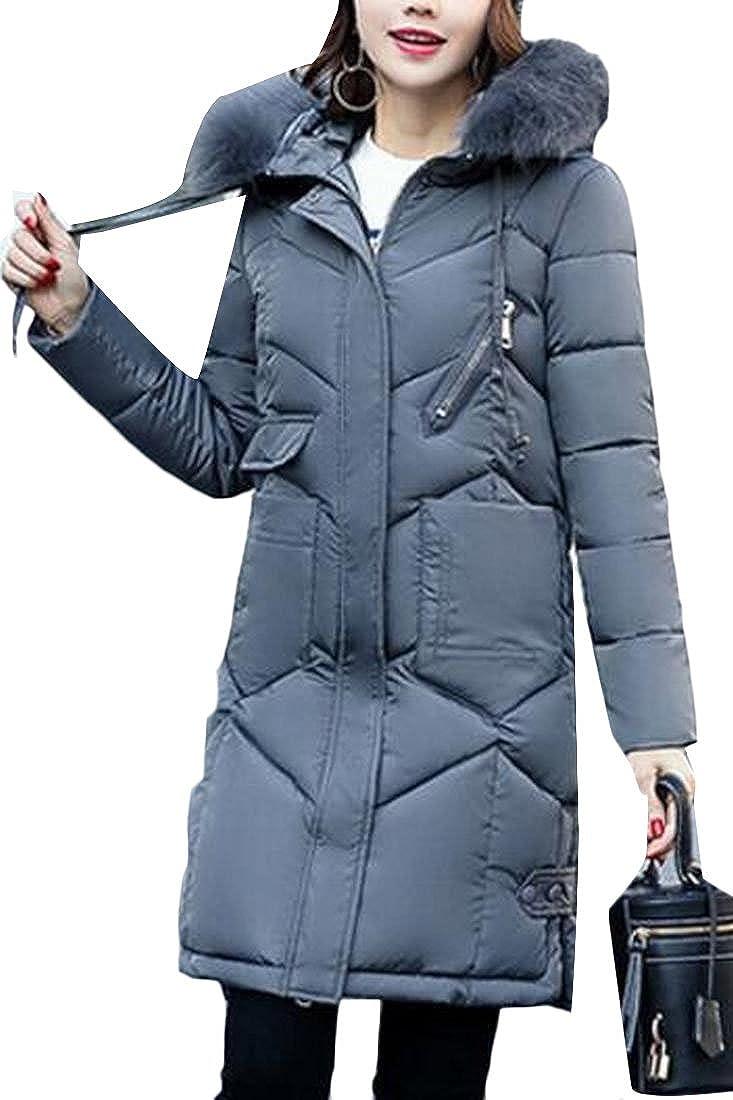 3 Keaac Women's Warm Down Coat With Fur Hood Down Puffer Jacket