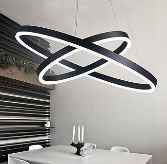 Elegant Moderne Einfache Acryl Aluminium Schatten LED Abstufung Progressive 2 Ring  Rund Kronleuchter Für Restaurant, Schlafzimmer
