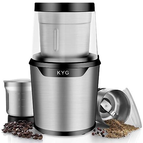 Molinillo eléctrico para café Molinillo para especias semillas pimienta con 2 Tazones extraíbles 300ml de Acero