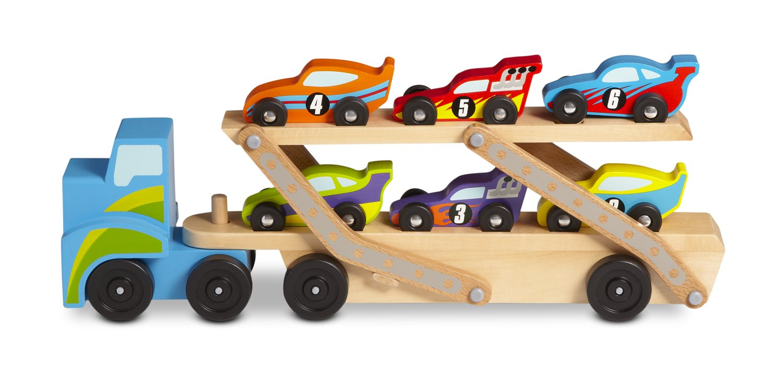 Amazon.com: Melissa & Doug Mega Race-Car Carrier - Wooden Tractor ...