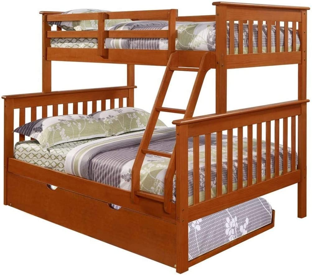 DONCO KIDS Mission Bunk Bed Light Espresso Twin Full W Twin Trundle Bed