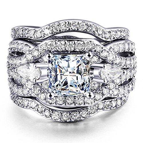 Wisslotus Women's Engagement Wedding Ring 3 Piece Sets Bridal Band Princess Cut Cubic Zirconia Promise Rings Size 5 6 7 8 9 10 (7) Cocktail Princess Ring