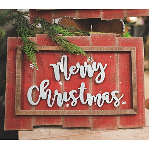 Round Slat Top (The Round Top Collection - Galvanized Merry Christmas Wood Slat Sign - Wood & Metal)