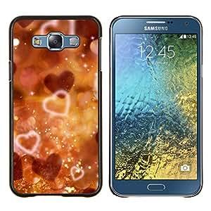 KLONGSHOP // Cubierta de piel con cierre a presión Shell trasero duro de goma Protección Caso - Corazones de Bokeh - Samsung Galaxy E7 E700 //