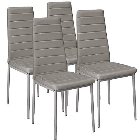 Aingoo Silla Conjunto de 4 sillas Sala de Estar Silla Oficina Silla Comedor sillas Grupo de Asientos Grupo de Comedor en Blanco