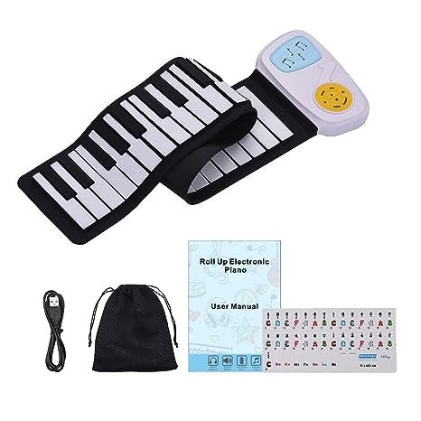 Muslady Teclado Electrónico de Silicio 49-Key Roll-Up Piano Portátil Altavoz incorporado Con