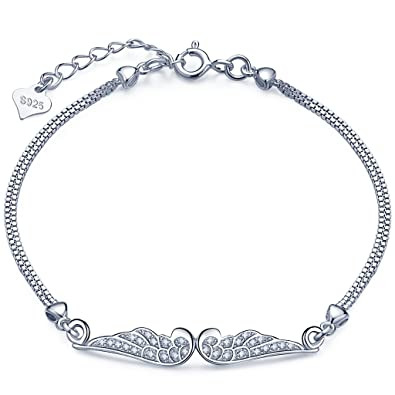 EVER FAITH® 925 Sterling Silver CZ Angel Wing Feather Adjustable Chain Bracelet N06633-1 u1HainVr