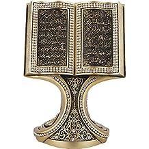 Quran Open Book with Ayatul Kursi and Nazar Dua - Muslim Home Decor Showpiece Ornament Gift 6.25 x 4.5in (Gold)