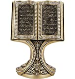 Quran Open Book with Ayatul Kursi and Nazar Dua - Muslim Home Decor Showpiece Ornament Gift 6.25 x 4.5in (Gold)