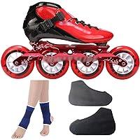 DSFGHE Patins à Roues Alignées en Fibre De Carbone Chaussures De Patinage De Vitesse Enfants Adultes Grande Roue Chaussures De Course