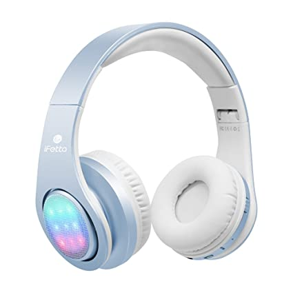 Bluetooth Auriculares, ifecco LED Over Ear Headset wirless Almohadillas Auriculares con 3 LED y micrófono