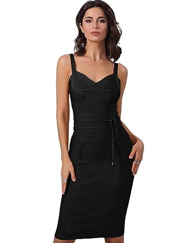 Adyce nero vestito sexy senza maniche in abito da Sexy Sera , la fasciatura midi elegante per lusso ...