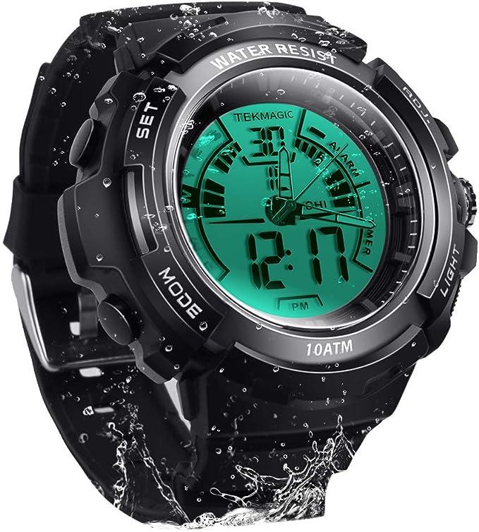 10 ATM digital sumergible reloj de buceo 100 m resistente al agua Natación deporte reloj luminoso pantalla LCD con función de alarma cronómetro: Amazon.es: Relojes