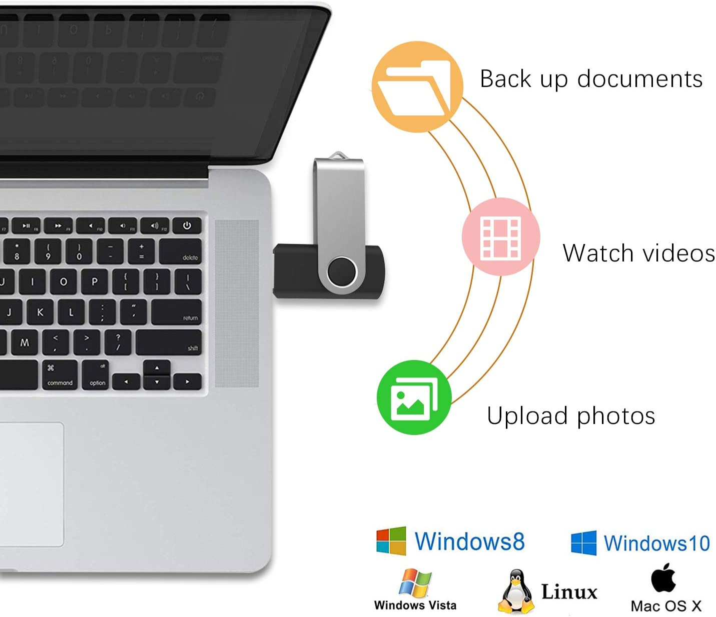 Black KEATHY 100 Pack 128MB USB Flash Drive USB 2.0 Swivel Thumb Drive Memory Stick Jump Drive Pen Drive