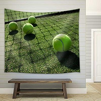 Delightful Piece of Art, Premium Product, Tennis Balls on Tennis Grass Court Fabric Wall