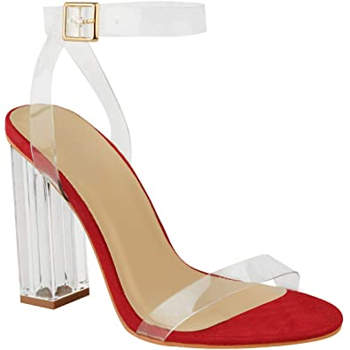 a6ad2b2b10 Fashion Thirsty Womens High Heels Sandals Perspex Hologram Clear Block Heel  Shoes Size 5