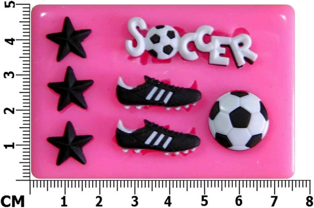 F/útbol Futbol Molde de silicona para la torta de Decoraci/ón Pastel de Cupcake Toppers Glaseado Sugarcraft Tool por Fairie Blessings