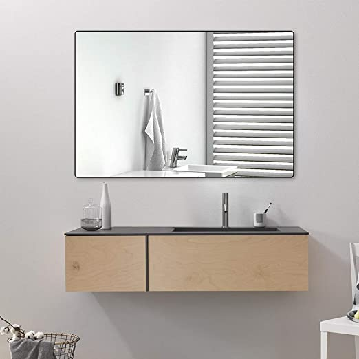 Amazon Com Belle Electrical Wall Mounted Bathroom Mirrors 24x36 Inch Black Bathroom Mirror Thin Large Modern Rectangular Aluminum Metal Frame Makeup Bathroom Mirrors For Vanity Hangs In Vertical Or Horizontal Home Kitchen