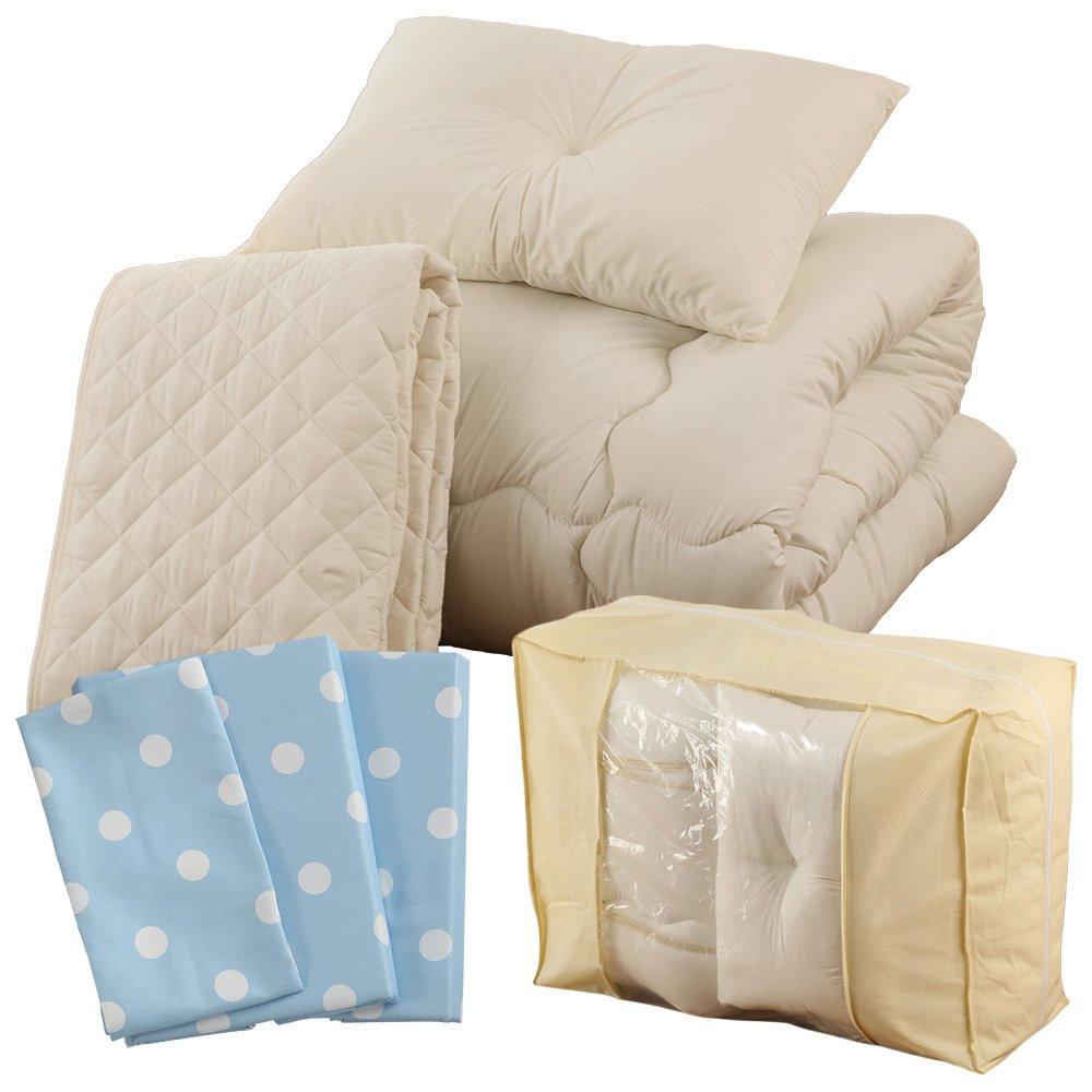 すぐに使える 高品質 ベッド用9点セット ダブル ドット柄 アルパインブルー A093-D014DB046BL B01MDTTYRJ ダブルサイズ ドット柄アルパインブルー ドット柄アルパインブルー ダブルサイズ