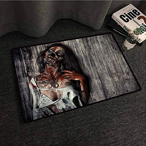 Interior Door mat Zombie Angry Dead Woman Sacrifice Fantasy Design Mystic Night Halloween Image All Season General W24 xL35 Dark Taupe Peach Red