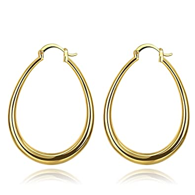 ddc785fae 40mm Big Teardrop Oval Hoop Earrings 14K Yellow Gold For Women Girls Hoops  for Sensitive Ears