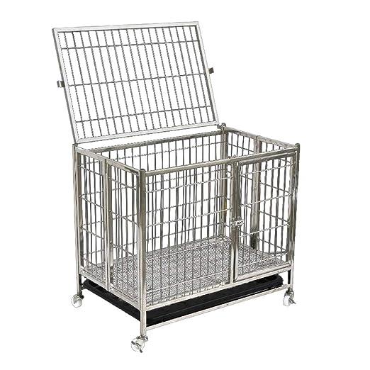 Negrita alambre plegable de acero inoxidable jaula para perros ...