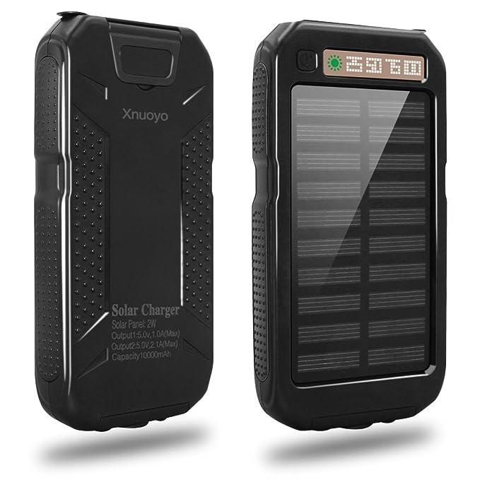 Xnuoyo 10000mAh Cargador Solar Impermeable Dual USB Solar ...