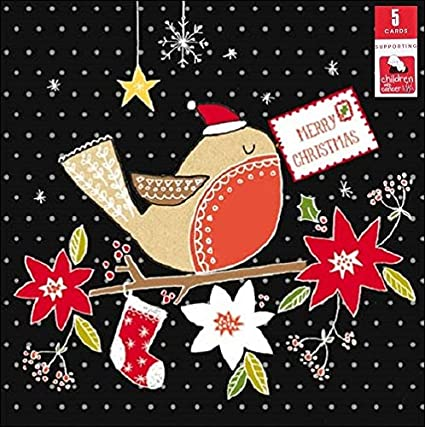 Pack of 5 Red Robin Children With Cancer Charity Christmas Cards Xmas Card Packs: Amazon.es: Oficina y papelería