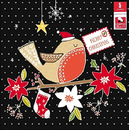 Pack of 5 Red Robin Children With Cancer Charity Christmas Cards Xmas Card Packs (Charity Cards Robin Christmas)