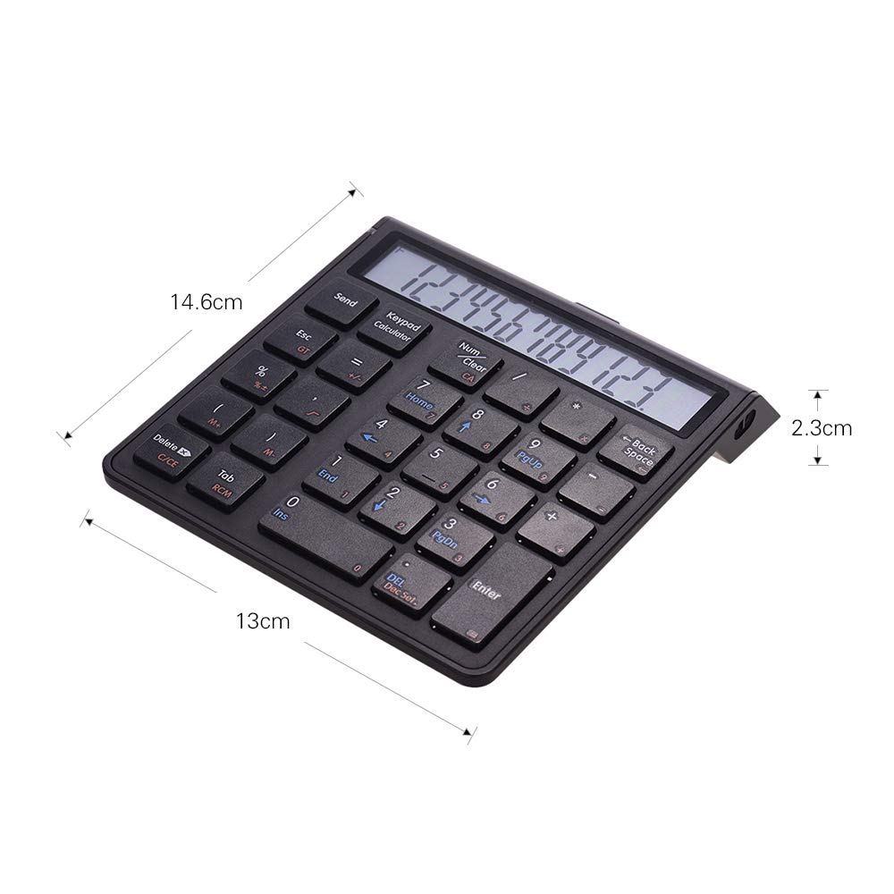 2-in-1 Wireless BT 28 Keys Rechargeable Smart Numeric Keypad Keyboard /& Calculator Function Data Entry with Display Screen for Windows//Linux//Android//iOS Computer Smartphone Walmeck Keypad Keyboard