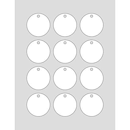 image about Printable Round Tags titled 60 Printable Cardstock Circle Hold Tags with Holes, Customize and Customized Tags, 2 x 2 inches, White