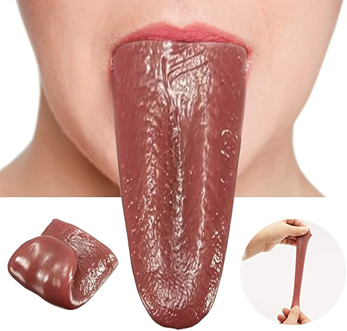 Sumind 10 Pieces Halloween Fake Tongue Horrible Realistic Tongue Artificial Tongue Prop Tricks Stretchable Tongue Toys Gross Jokes Prank Magic Tricks Halloween Horrific Magicians Prop